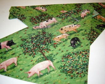 CLEARANCE!  Pigs in Apple Orchard Pink Piggies Dog Scarf Over the Collar Dog Bandana