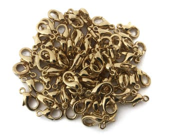 10x Small Gold Plated Lobster Clasps - F058