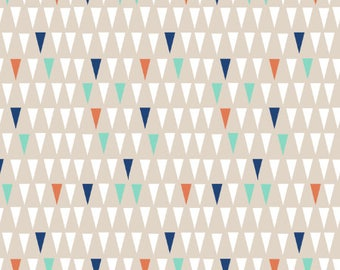 Neutral Triangles Fabric by the Yard Quilting Fabric Organic Cotton Minky Knit Gender Neutral Baby Nursery Khaki Kids Room 4033078
