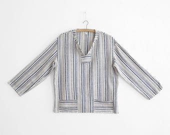 Ethnic Vintage Blouse/Pull on tunic - Cotton Flannel - Made In France - 1970s