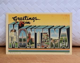 Vintage Montana Linen Postcard