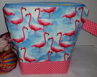 Large WIP Zipper Project Bag, Wedge Bag, Pink Flamingo & Blue Skies Zippered Project Bag, Knitting bag, Zipper