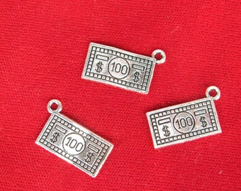 "10pc ""100 dollar bill"" charms in antique silver style (BC1255)"