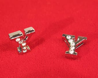 """10pc """"letter Y"""" 8mm slide charms in antique style silver (BC1375-Y)"""
