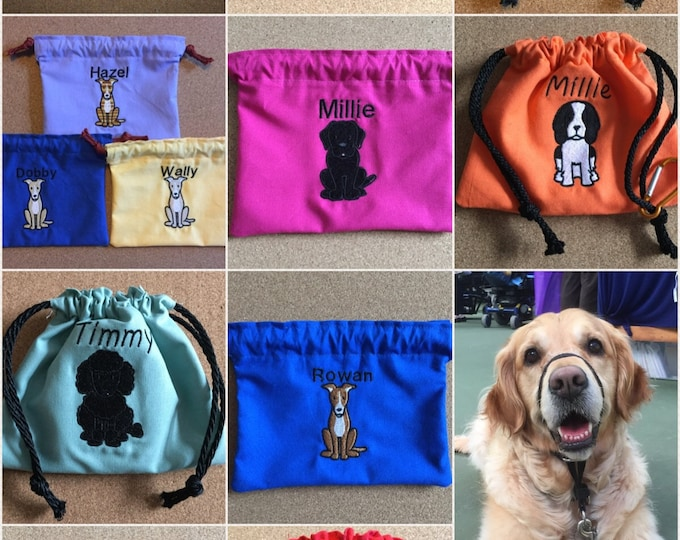 Featured listing image: Personalised Dog Treat Bag, Dog Treat Bag, Dog Treat Bag with Name, Dog Bag, Personalised Dog Bag, Doggy Bag, Handmade Dog Treat Bag