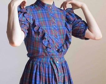 ECLIPSE 1970s Plaid Ruffled Cotton Shirt Dress // Size Small