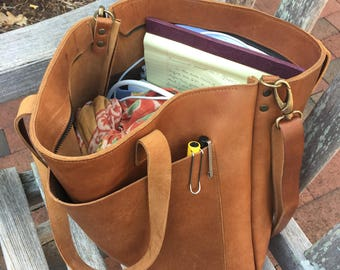 Ready to ship!! Camel Leather tote bag with large outside pocket. Cap Sa Sal Bag. Handmade.
