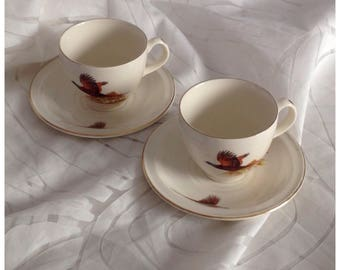 Pair of Vintage Carrigaline Pottery Co. Ltd. Cup & Saucer, Made in Cork, Ireland.  Pheasant, Grouse