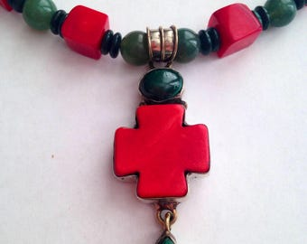 Tibetan Coral and Jade Pendant Necklace