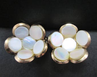 Vintage Mother of Pearl Cluster & Gold Tone Brooch or Lapel Pins Pair Set