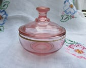 Powder Bowl - Pink - Depression Glass - Lidded Bowl - Vintage