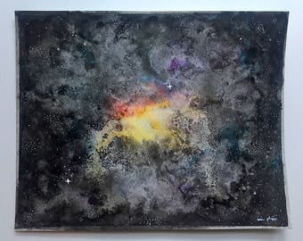 Original Galaxy Watercolor and Ink Painting (Free U.S. Shipping)