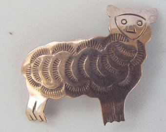 Vintage Signed H.B. Sterling Silver 925 Etched Sheep Lamb Pin Brooch