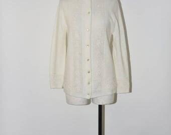 50% OFF white pointelle cardigan / 60s acrylic knit cardigan / 1960s lightweight cardigan