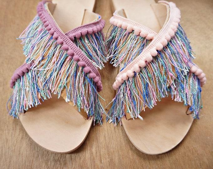 """Handmade Leather Pom Pom Tassel Sandals / Crisscross Strap / Slip on Sandals / Genuine Greek Leather / Slippers / Exotic Sandals / """"Luana"""""""