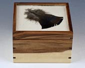 Small square box, ring box, watch box, attractive storage for small items, box with cool lid, turkey feather under glass, knick knack box