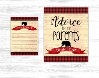 Baby Bear shower game Advice for the Parents to be Card Buffalo Plaid Baby shower activities Lumberjack Advice for the Parents to be BFB101