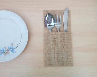 Wedding cutlery made of jute storage cases Rustic hinged door Decoration boho table decoration
