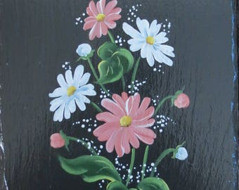 Painted Pink & White Daisies Slate