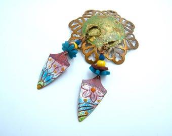 Boucles d'oreilles rustiques - cuivre - émail - perles verre - porcelaine froide - bijou artisanal - pièce unique -cadeau Saint Valentin