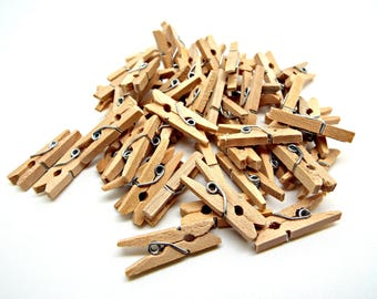 50 Mini Wooden Pegs, Mini Pegs, Rustic Clips, Natural Pegs, 1 Inch Pegs, Mini Clips, Stationary Pegs, Craft Pegs, 25mm Wood Clips, UK Seller