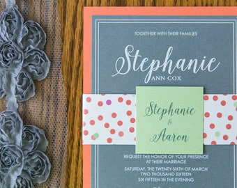 Coral Mint & Grey Confetti Dots Fun Playful Layered Wedding Invitation with Enclosure Band/Monogram - Other Colors Available!