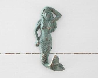 Mermaid Hook, Cast Iron Hook, Coat Hook, Spa Hook, Key Hook, Bathroom hook, cast iron mermaid wall hook, cast iron home decor,