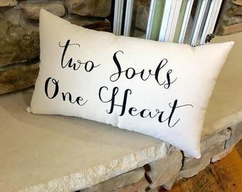 Canvas Pillow, Throw Pillow, Home Decor, Wedding Gift, Decorative Pillow, Two Souls One Heart, Pillows, Pillow, Printed Pillow, Love Pillow