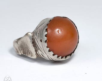 old Muslim ring - aqeeq ring - vintage silver ring - men agate ring - Mecca ring - old Pilgrimage ring - gift for him - collectible African