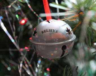 Sleigh Bell Ornament - I Believe - Santa Bell - Santa Sleigh - Jingle Bell - Christmas Tree Decoration - Christmas Keepsake - Holiday Decor