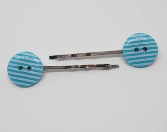 Button Hair Pins, Stripey Turquoise Bobby Pin, Cute Gift for Girls, Women Hair Accessory , Bridemaids Token, Kitsch Design, Sewing Lover