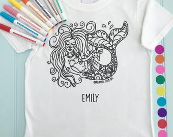 Mermaid Personalised Girls Tee Shirt to Colour in Mermaid Design Doodle Colouring in Art Fabric Pens T-Shirts Fun Activity for Girls