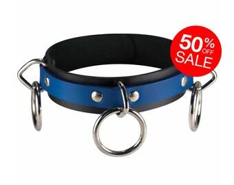 3 Ring Locking Collar - Leather - O-Ring's - Locking Buckle
