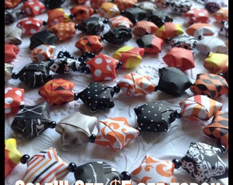 SALE-Happy Halloween Origami Star Garland with Black Beads-SALE