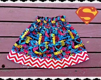girls Superman skirt  2T 3T 4T 5T 4/5 6/6X 7/8 10/12 14/16 ready to ship