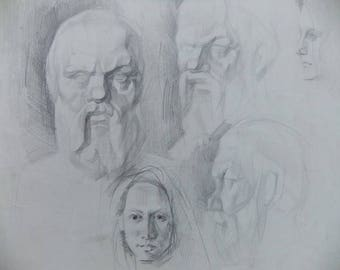 Socrates Original Drawing Academical Anatomy  Vintage Pencil  Dark Tone Picturе  Classical Sculpture