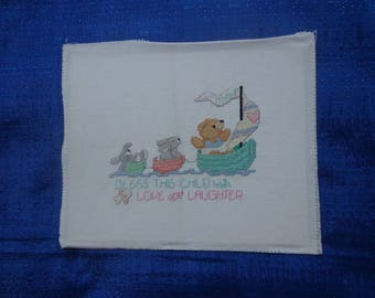 Bless This Child Cross-stitch Picture,Vintage Cross-stitch,Completed Cross-stitch