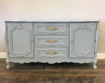 AVAILABLE: Grey Lacquer French Provincial Buffet