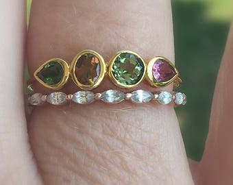 SUMMER CLEARANCE Dainty Tourmaline 14K Gold Stacking Ring, Size 7.5, Tourmaline Gemstone Band, Multi Stones, Gift for Her, Slim Band