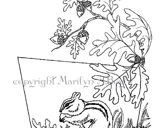 COLORING PAGE - CHIPMUNK; digital download, nature, acorns, oak leaves, from original art
