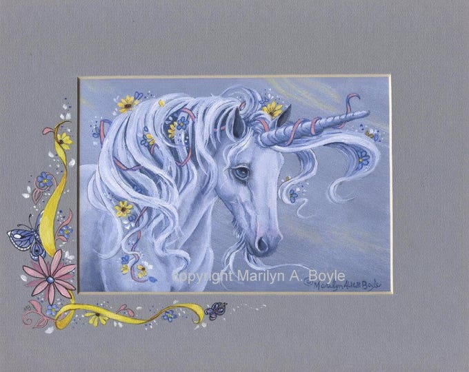 HAND PAINTED PRINTS; Fantasy, unicorn, original art on mat, wall art, one of a kind, hand painted mat.