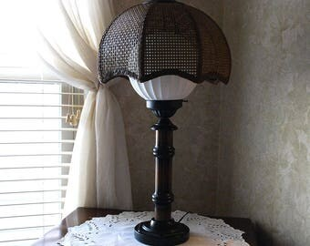1970's Table Lamp, Wicker Cane Rattan Shade, Solid Wood, Black Metal