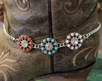 Boot Bracelet Boot Accessories Crystals Flower Bling with Chain Boot Jewelry