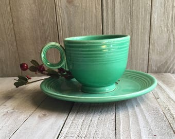 Vintage Fiesta - Green Teacup & Saucer
