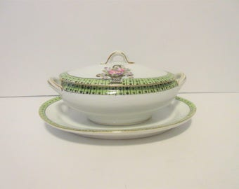Antique Noritake Gravy Boat with Platter Green and White with Floral Trim