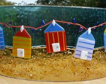 Beach huts,  freestanding, original fused glass art