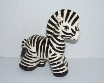 Vintage Zebra Figurine Black White Stripes Cute Girl