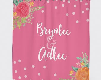 shower curtain floral shower curtain daughter gift kids shower curtain pink
