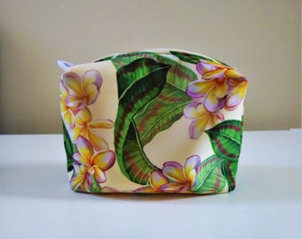 Plumeria Tropical print Makeup bag