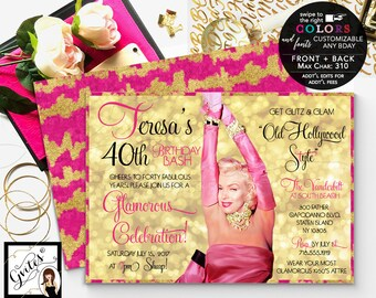 Old Hollywood Pink and gold invitations, 40th birthday glitz and glam hollywood style, 1950s marilyn monroe pink and gold, digital 7x5